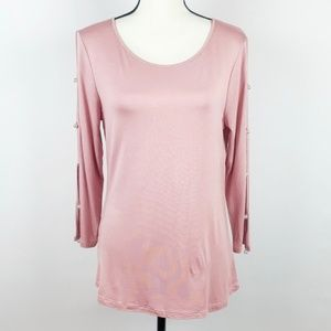 Cable & Guage Pink Long Sleeve Top w/ Pearl Detail